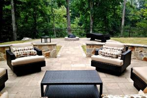Outdoor Living Space with Natural Stone