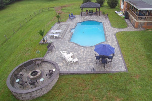 Total Pool Renovation with Pavilion and Fire Pit