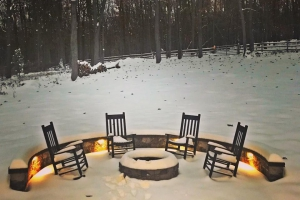Patio with Fire Pit Using Natural Cleft - New Construction