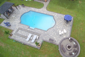 Pool Patio Renovation with Pavilion and Fire Pit