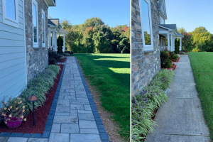Front Walkway with Red Mulch