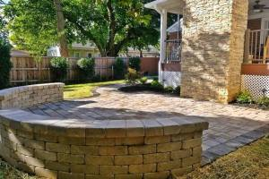 Small Patio and Walkway with Cobblestone Look