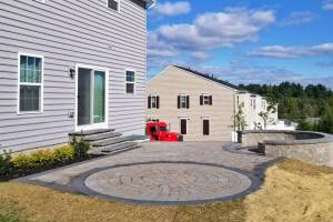 Traditional Paver Patio with Fire Pit