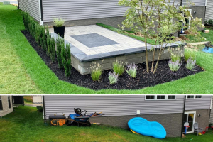 Rectangle Inlay Patio with Sitting Wall