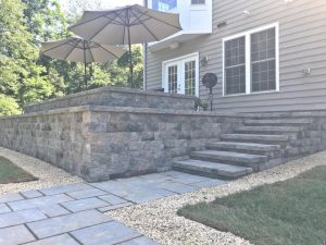 steps with elevated patio