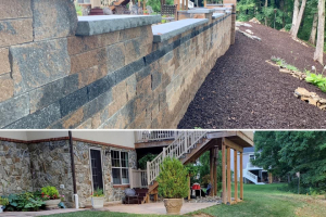 Wormans Mill Pond View Circle Patio and Wall